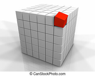 Different One - Large cube made of small white cubes and one...