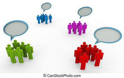 Different opinion - 3d people belonging to different group ...