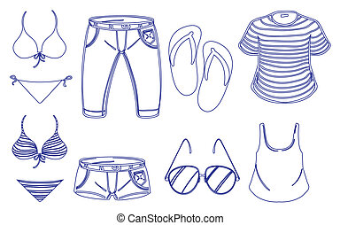 Different outfits for summer - Illustration of the different...
