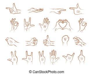 Different outline hands gestures