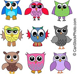 different owls - nine different owls