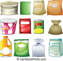 Different packs and containers - Illustration of the...