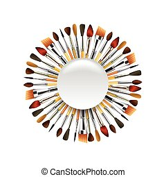 Different paint brushes in the circle isolated on white background