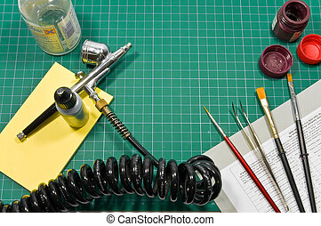 Different painting hobby tools still life composition. -...