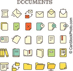 Different paper documents thin line color icons vector set
