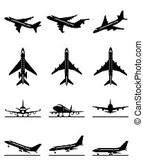 Different passenger aircrafts in flight - vector illustration