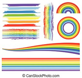 Different patterns of rainbow on white background