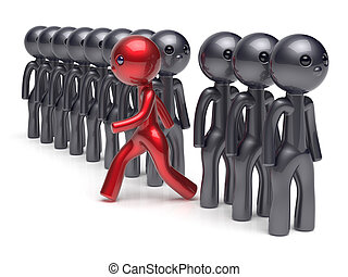 Different people character individuality stand out from the crowd unique red man think differ person otherwise run to new opportunities concept human resources hr icon. 3d render isolated