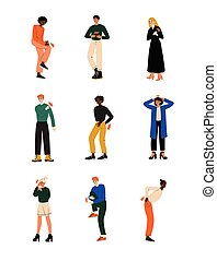 Different People Feeling Pain in Different Parts of Body Caused By Illness or Injury Set, Toothache, Headache, Backache, Pain in Arms, Legs, Shoulder and Chest Vector Illustration