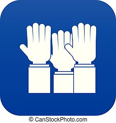 Different people hands raised up icon digital blue