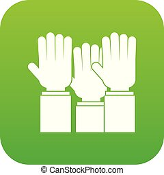 Different people hands raised up icon digital green