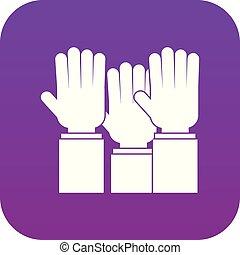Different people hands raised up icon digital purple