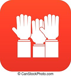 Different people hands raised up icon digital red