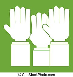 Different people hands raised up icon green