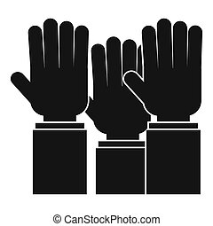 Different people hands raised up icon simple style