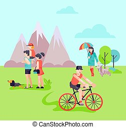 Different people in park with dogs vector illustration. Family with child girl young man on bicycle. Place for walking dogs and outdoor activities. Mountain background.