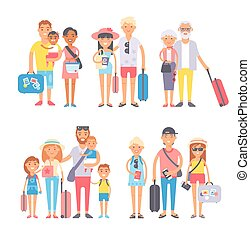 Traveling family group people on vacation together character flat illustration.