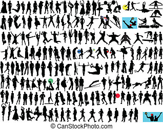 different people silhouette - illustration of different...