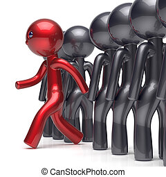 Different people stand out from the crowd individuality red man