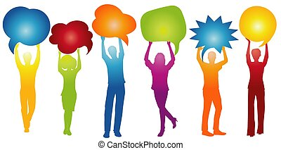 Different people talk holding speech bubble. Talking and inform. Communicate between a group of multiethnic and multicultural people who talk and share ideas. Social network. Friendship