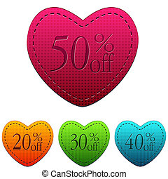 different percentages rebate in hearts banners, valentines day sale concept