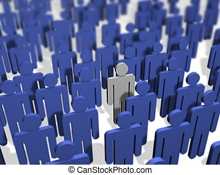 Illustration of a crowd of people, All colored blue apart from one.