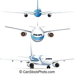 Different perspectives of flying airplanes