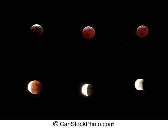 different phases of a moon eclipse. March 3 2007