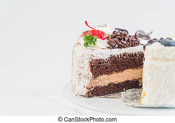 different pieces of cake on cake stand