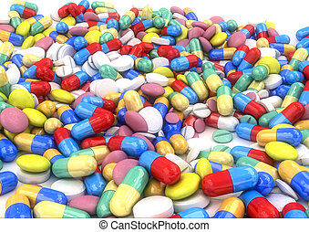 Different pills and capsules placed on a table, without...