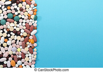 Different pills with copy space