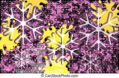 Different pink triangle on a black abstract background with snowflakes. White and violet transparent snowflake Christmas light vector backdrop. Card or invitation decoration and design illustration
