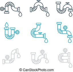Different pipes for plumbing, set of icons