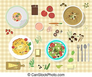 Different plates with pasta bolognese and spaghetti lunch dinner tomato salad collage vector illustration