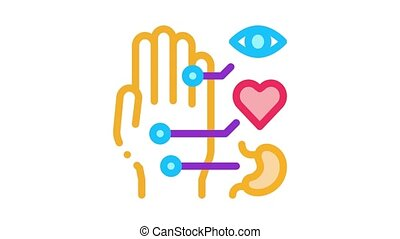 different points of impact of organs on arm Icon Animation. color different points of impact of organs on arm animated icon on white background
