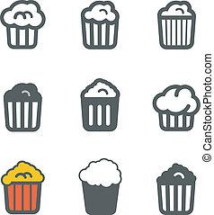 Different popcorn icons set. Design elements
