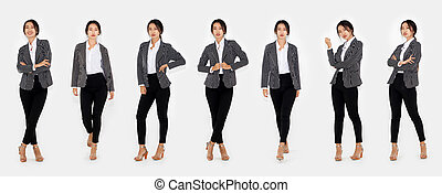 Different pose of same Asian woman full body portrait set