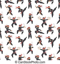 Different poses of ninja fighter in black cloth character...
