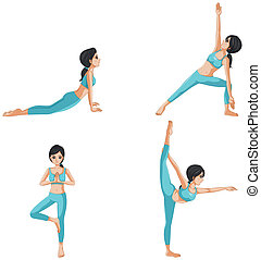Different positions of yoga