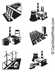 Different power plants - vector illustration