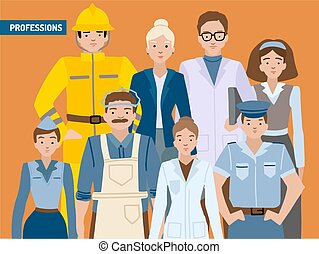 Different professions, portrait character set, a card with ...