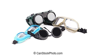 Different protective glasses. Isolated on white background.