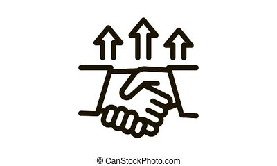different race handshake Icon Animation. black different race handshake animated icon on white background