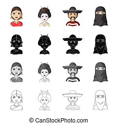 Different race of Indian, Japanese, Mexican, Asian. The human race set collection icons in cartoon black monochrome outline style vector symbol stock illustration web.