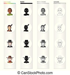 Different race of Negro, Indian, Jew, American. The human race set collection icons in cartoon black monochrome outline style vector symbol stock illustration web.