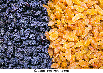 Different Raisins background, texture