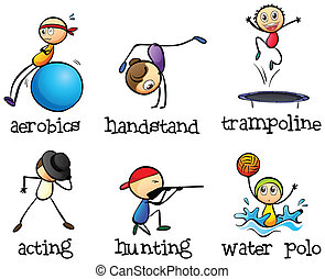 Illustration of the different recreational activities on a white background