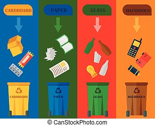 Different recycling garbage cards waste types sorting processing, treatment remaking trash utilize icons vector illustration.