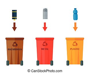 Different recycling garbage waste types sorting processing, treatment remaking trash utilize icons vector illustration.