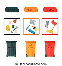Different recycling vector garbage waste icons types sorting processing, treatment remaking trash utilize illustration.